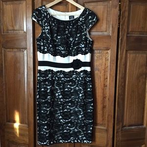 JAX Formal Black and White Lace Detail Dress